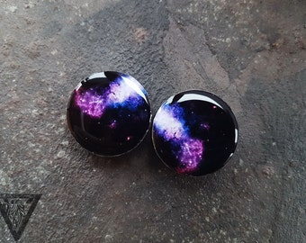 Pair plugs Galaxy image ear wood tunnels 4,5,8,10,12,14,16,18,20,22,25-60mm;6g,4g,2g,0g,00g;1/4,5/16,3/8,1/2,9/16,5/8,3/4,7/8,1 1/4,1 9/16""