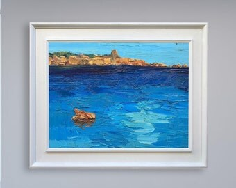 Blue Art Painting Ocean Beach Art Sea Painting Canvas Art Modern Home Decor Original Oil Painting Ocean Art Coastal Art