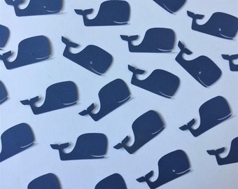 """Whale Confetti (1.5"""" wide), Baby Shower Whale Confetti, Baby Shower Decor, Blue Whale Die Cuts"""