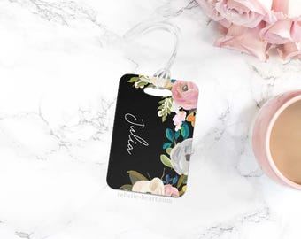 Floral Luggage Tag, Personalized Luggage Tag, Monogram Luggage Tag, Black Luggage Tag, Diaper Bag Tag, Gym Bag Tag, Floral Bag Tag
