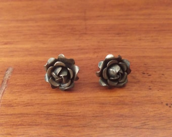 Vintage Sterling Rose Petal Earrings