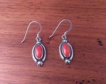 Vintage Red Stone & Sterling Earrings