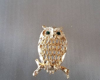 """Vintage Napier Owl Gold Jeweled Green Eyes Brooch Pin 1 1/2"""""""