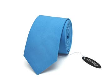 Mens Tie TC113 Blue necktie Handmade Cotton Men's necktie Boom Bow