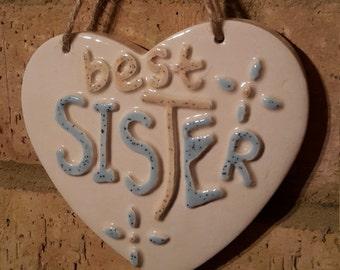 BEST SISTER- Ceramic Heart- Blue & White-Gift-Befroom decor-Wall Sign-Hanging Heart-family