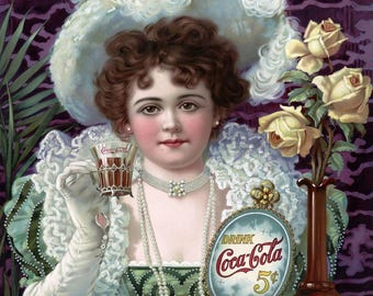 Vintage Coca Cola Ad Reproduction Print,from 1920's, This Coca Cola Poster print is Perfect for the Kitchen Wall, Decor, or Home,Mancave