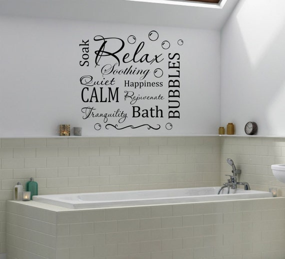 Relax bathroom wall sticker decal quote wall art home decor for Bathroom wall decor uk