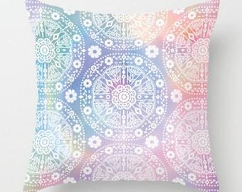 Bohemian Pillow, Colorful Throw Pillow, Decorative Pillow Case, Boho Cushion Cover, Accent Pillow, 16x16 18x18 20x20, White Blue Pink Purple