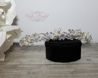FAST Shipping!!! Popular With Brides, Gold or Silver Swarovski and Fresh Water Pearls Headband, Tiara