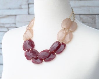 Wine Red & Champagne Bead Necklace, Statement Necklace, Chunky Necklace, Bib Necklace, Valentine's Day or Birthday Gift, Gift for Lady,