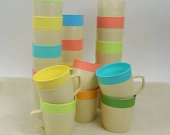 Set Of 17 Raffiaware Cups // Thermo Temp Insulated Tumblers Coffee Cups Teacups // Mid Century Drinkware Beverage Set // Summer Picnic