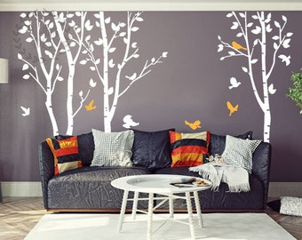 Birch tree wall decals Large tree and birds wall sticker White birch   forest wall mural Flying birds wall decal Nursery tree wall decal-1