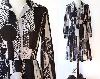vintage 1960s/1970s Lanvin dress <> 60s/70s cotton geometric print Lanvin dress <> Lanvin shirtwaist dress <> designer black and white dress