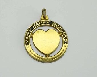 FROSTNER Many Happy Returns Yellow Gold Filled Black Enamel Open Work Heart Pedant Charm