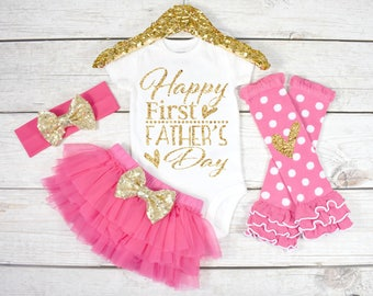 Baby First Father's Day, First Father's Day, Baby Father's Day Outfit, Happy First Father's Day Outfit, Girls Father's  (S46) (FDY) (HOTPK)