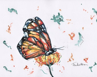 A4 Original Butterfly watercolour. Butterfly illustration. Nursery Wall art. Animal wall art. butterfly painting. Monarch butterfly