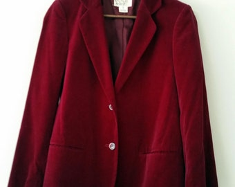 SALE Vintage Women's Burgundy Red Tailored Blazer Jacket Velvet