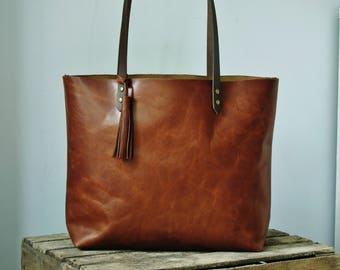 Ready to ship Large Brown Leather tote bag handles sewn.
