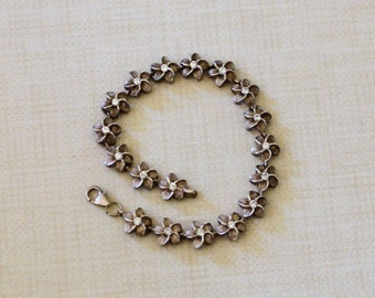 Vintage Sterling Silver Floral Bracelet from Hawaii, Sterling 925 Bracelet Hawaiian Plumeria Flowers with CZ Centers