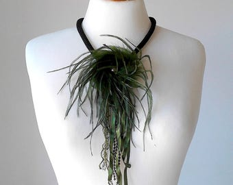 Feather necklace feather jewelry real feather necklace olive green necklace Victorian feather necklace fashion necklace fashion jewelry