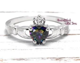 Claddagh Ring, Irish Claddagh Ring, Celtic Claddagh Ring, Rainbow Topaz Cubic Zirconia Claddagh Ring, Sterling Silver Claddagh Ring