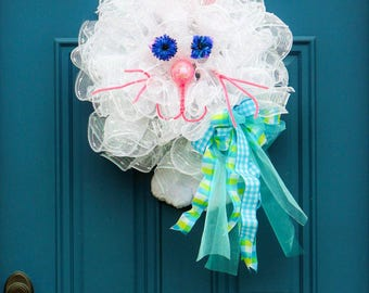 Easter Bunny Wreath , White Rabbit Wreath , Easter Ruffle Wreath , Rabbit Door Hanger , Easter Decoration, Easter Door Hanger