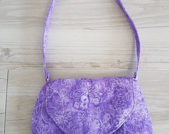 Purple flowers and butterflies Little Miss Shoulder Bag - A great grab and go purse or little girls 'just like mummy' bag