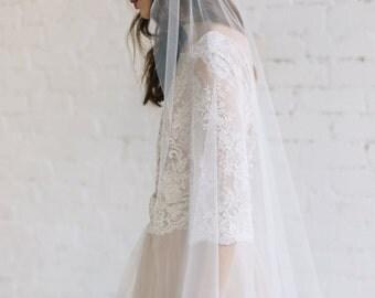 Wedding Veil ,Bridal Veil, Ivory off White Tulle Veil, Bohemian Wedding Veil, 3D Floral Decorated Veil, Veil For Bohemian Bride  - GRACE