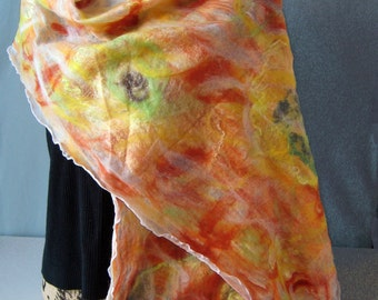Orange, yellow, green, blue nuno felted wrap, scarf, handmade, unique design, wearable art, gift for her, shawl