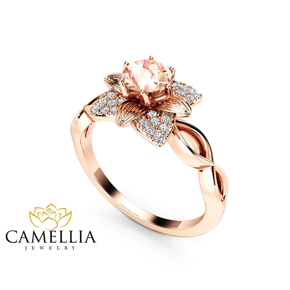 Unique Morganite Engagement Ring 14K Rose Gold Ring Unique