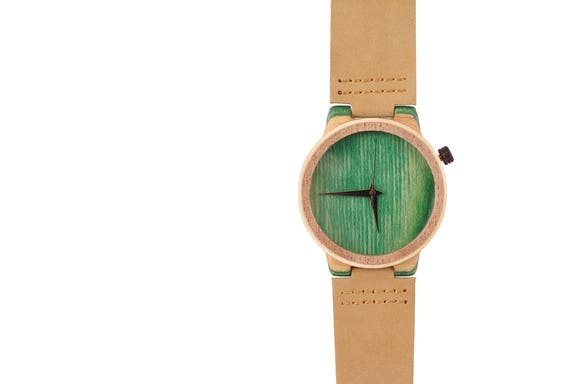 7PLIS watch #58 Recycled SKATEBOARD #madeinfrance yellow brown green wood