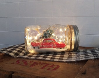 Model Vintage Red 1953 Cadillac Coupe with a Christmas Tree on Top; Dry Waterless Battery Operated Lighted Mason Jar Snow Globe