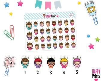 Doodle Girl, Migraine Stickers, Planner Stickers, Kawaii stickers, Headache
