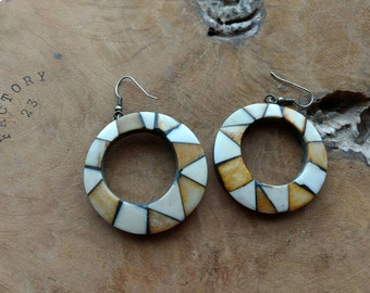 African Hoop Earrings - Bone Jewelry - Big Hoops - Statement Earrings - Tribal