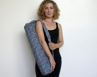 Yoga Mat Bag, Yoga Bag, Yoga Sling, Yoga Carrier,  Gift For Yoga Lover,  Mat Bag,  Sports Bag, Yoga Bag, Yoga Tote, Large Bag, Blue