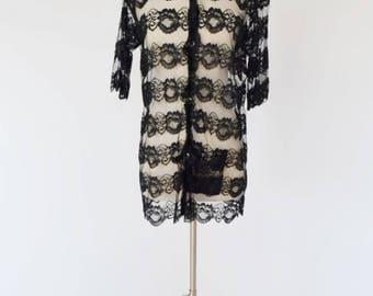 VTG Black Lace Ruffled Sheer Blouse / Tunic