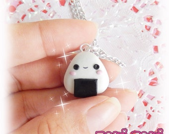 Onigiri Necklace, Onigiri Charm Necklace, Polymer Clay Charms, Cute Onigiri Pendant, Sushi Necklace, Kawaii Necklace, Tiny Food Charm, Japan