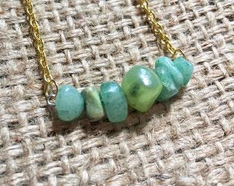 Green Bar Necklace, Stone Bar Necklace, Mixed Stone Necklace, Multi Stone Necklace, Green Chip Necklace, Mixed Chip Necklace, Jade Necklace