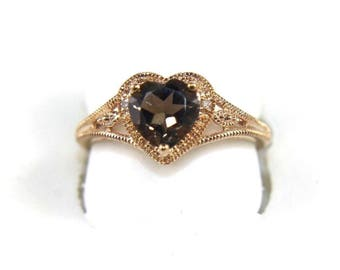 Fine Heart Shape Smokey Brown Topaz Solitaire Fashion Ring 10k Rose Gold 1.22Ct