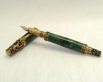 Green Buckeye Burl Victorian Antique Brass Fountain Pen