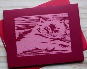 Hand Printed Lazy Cat - Linocut - Block print - Blank Greeting Card - Fat Cat - Relaxed Cat - Happy Cat Card