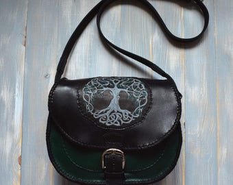Celtic leather bag, Tree of Life, Scandinavian style