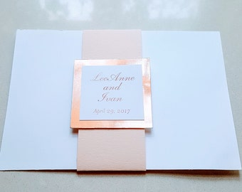 Rose Gold Foil and Blush Colored Belly Bands for Wedding Invitation / Wedding Invitation / Belly Bands for Invitation / Foil Belly Bands
