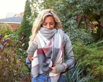 SALE! CandyCane Plaid Blanket Scarf, Winter scarf, Wool Blanket scarf, Plaid Scarf, Tartan ...