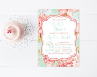 Floral Printable Bridal Shower Invitation, Mint Green Coral Flower Bridal Shower Invite, 4x6 or 5x7- Digital File