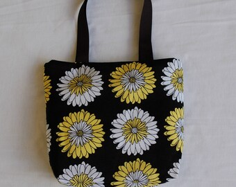 Fabric Gift Bag/ Small Tote/ Hostess Gift Bag- Yellow and White Floral on Black