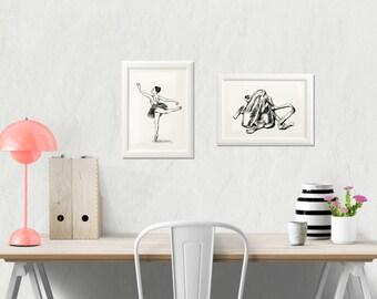 Ballet Art Print, Printable Art, Ballerina Art, Dancer illustration, Ballet teacher gift, Eco Friendly, Black and White Prints