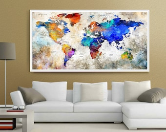 World flags sticker set all countries 198 flags 198 head push pin world map large wall art world map watercolor countries world map with large gumiabroncs Gallery