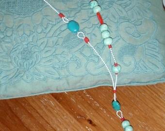 Ceramic beads necklace Turquoise stones necklace Handmade pendant necklace Handmade turquoise necklace White chain necklace Beaded necklace