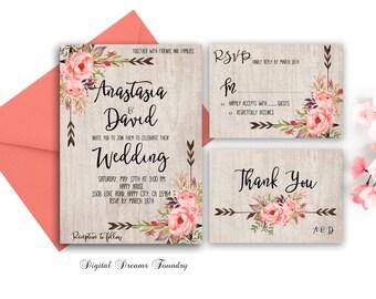 Rustic Spring Wedding Invitation Blush Pink Floral Wedding Invitation Printable Set Boho Wedding Invitation Romantic  Wedding Invitation
